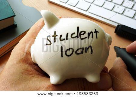 Student loan written on a piggy bank.