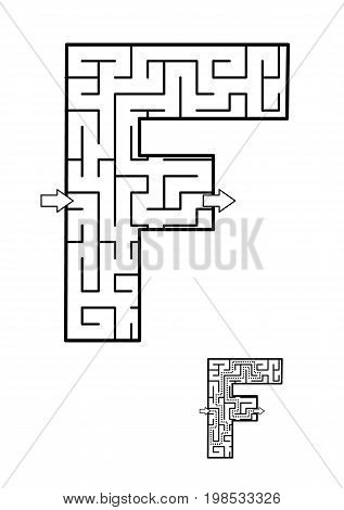Back to school or regular learning reinforcement alphabet activity for kids - letter F maze. Use as is or add fun cartoon characters. Answer included.