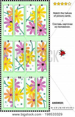 Visual puzzle with gerbera daisy flowers: Match the halves of picture cards. Answer included.