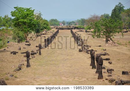 View Landscape With Walkway Of Archaeological Site Wat Phu Or Vat Phou