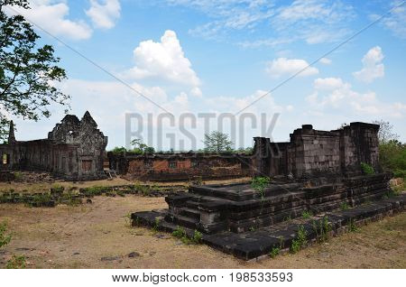Ruins Building In Archaeological Site At Vat Phou Or Wat Phu Of Unesco World Heritage Site