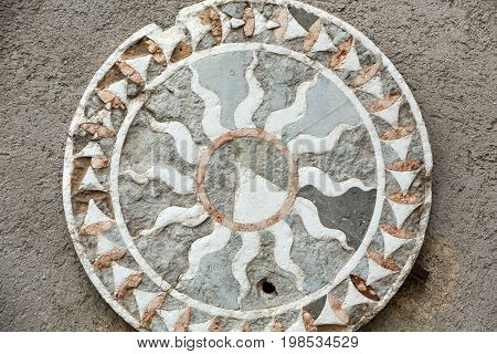 VERONA ITALY - MAY 1 2016: Scaliger pietre dure intarsio in the courttyard at one sideof the Castelvecchio Museum in Verona. Italy