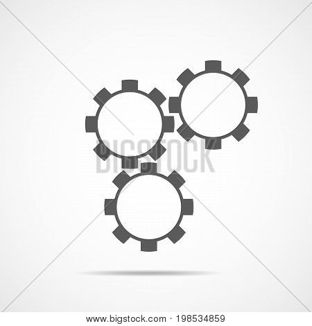 Gray setting icon. Setting icon on light gray background. Vector illustration.