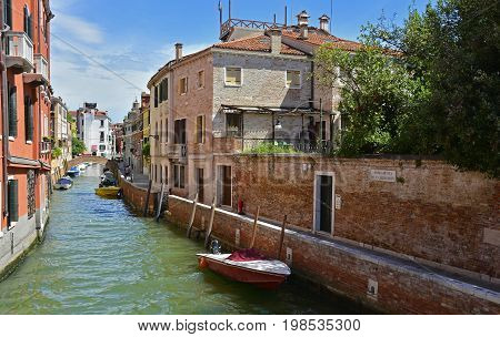 Venice Italy - July 26th 2017. A residential area in the Dorsoduro quarter of Venice. Despite it being peak season the more residential back streets remain relatively quiet