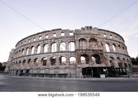 Ancient coliseum in city Pula, Croatia, Europe
