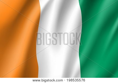 Cote d'Ivoire Ivory Coast flag. National patriotic symbol in official country colors. Illustration of Africa state waving flag. Realistic vector icon