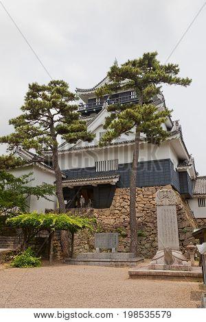 OKAZAKI JAPAN - MAY 31 2017: Reconstructed Main Keep (donjon circa 1959) of Okazaki Castle Japan. Castle was founded in 1455 by Saigo Tsugiyori shogun Tokugawa Ieyasu was born here in 1543
