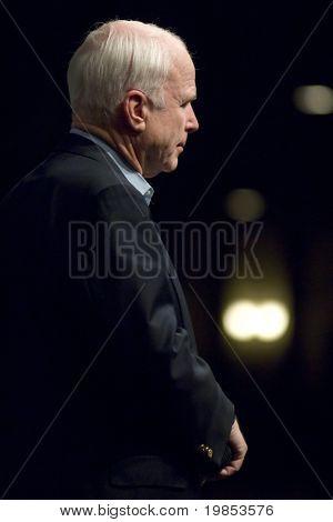 MESA, AZ - OCTOBER 30: Senator John McCain (R- AZ) speaks at a town hall meeting on October 30, 2009 in Mesa, Arizona.