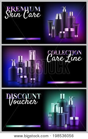 Premium beauty voucher set. Cosmetic care concept. Advanced skin tratment dermatology at great low prices. Realistic template vector illustration