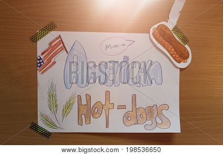 Drawing on paper American hot dogs the sun
