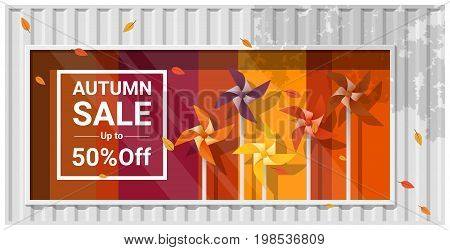 Autumn sale window display with colorful pinwheels background , vector , illustration