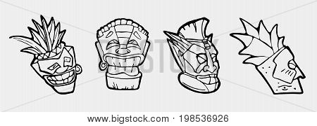 Hand drawn totem face, statue, idol Polynesian symbol set. Ancient tribal god.
