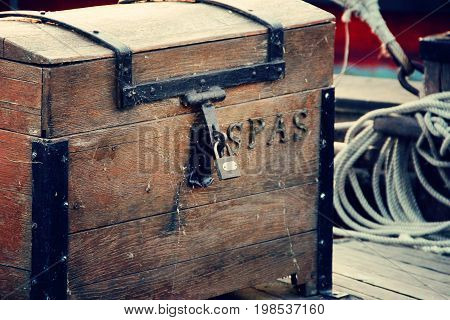 big one wood Treasure chest on the ship . photo
