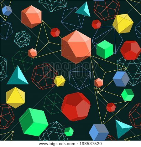 Platonic solids shapes and lines abstract 3d geometrical seamless pattern. Colorful vector illustration in flat style on dark background.