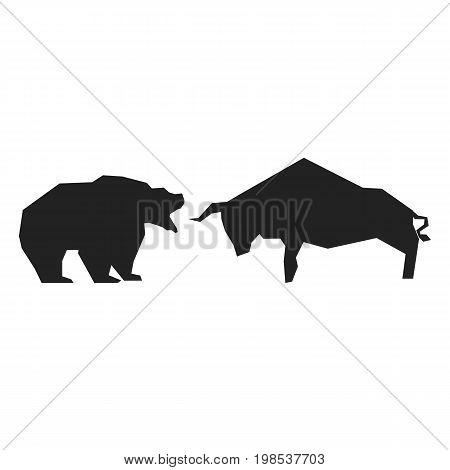 Bullish and bearish symbols. Stock market trends.