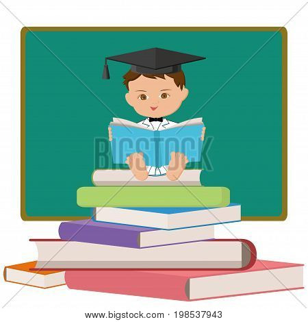 Baby professor or graduating student reading a book and sitting on a colorful book tower on white background. Back to school. Vector illustration in flat style.