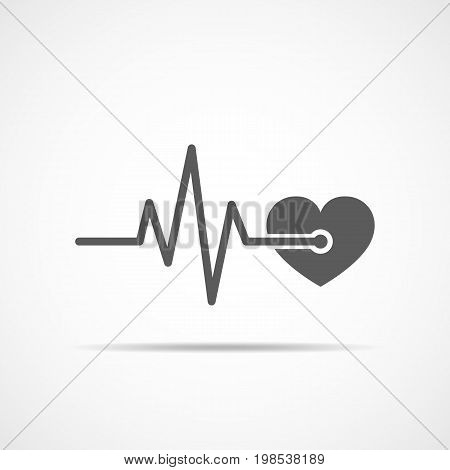 Gray heart icon with sign heartbeat. Vector illustration. Heart in flat design.