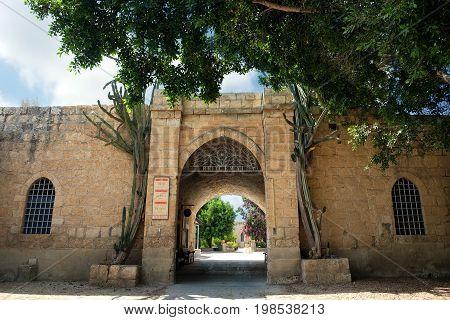 BEIT JAMAL ISRAEL - JULY 22 2017: Gate of the Salesian Monastery Beit Jamal in Israel