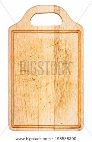 Old wooden cutting board isolated on white background top view