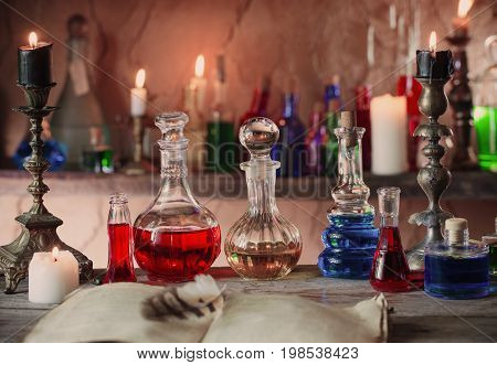the magic potion ancient books and candles
