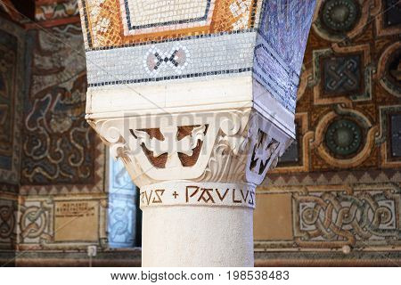 BEIT JAMAL ISRAEL - JULY 22 2017: Capital of the column in the church of St. Stephen the First Martyr in the monastery Beit Jamal