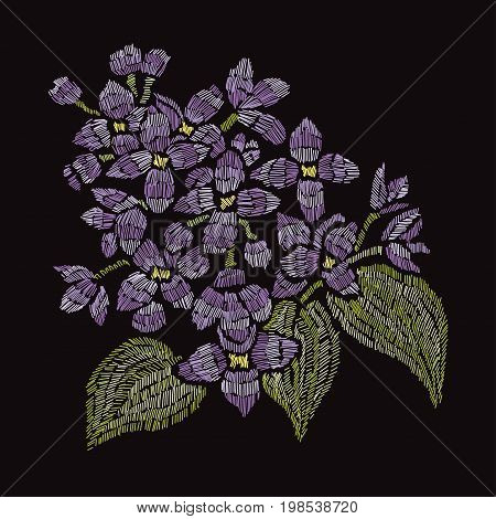 Elegant bouquet with lilac flowers design element. Can be used for decorations fabrics manufacturing cards invitations. Embroidery style.