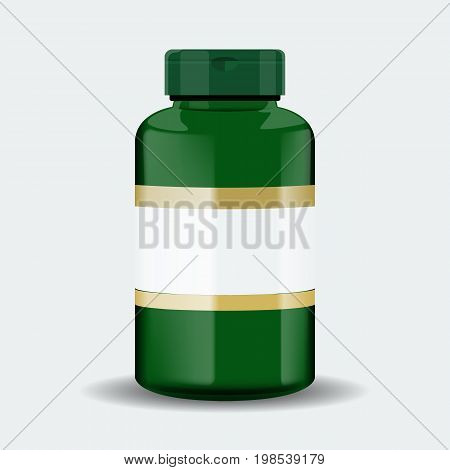 Pills box. Green medical container. Vector illustration isolated on white background. Realistic mockup design.