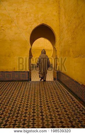 Popular landmark - Mausoleum of Moulay Idris in Meknes Morocco.