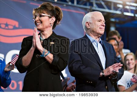 MESA, AZ - MARCH 27: Senator John McCain and former Vice Presidential candidate Sarah Palin attend a re-election rally for  Senator McCain on March 27, 2010 in Mesa, AZ.