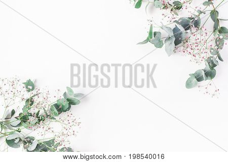 Flowers composition. Frame made of of pink gypsophila flowers and eucalyptus branches on white background. Flat lay top view copy space