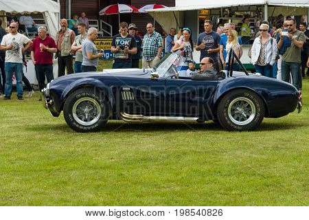 PAAREN IM GLIEN GERMANY - MAY 23 2015: Sports car AC Cobra (replica). The oldtimer show in MAFZ.
