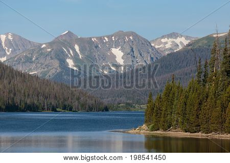 Long Draw Reservoir in the Never Summer Mountains of Colorado.