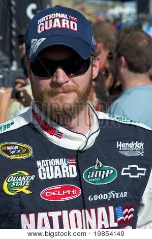 AVONDALE, AZ - APRIL 10: NASCAR driver Dale Earnhardt Jr. makes an appearance before the start of the Subway Fresh Fit 600 on April 10, 2010 in Avondale, AZ.