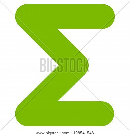 Sum vector icon. Flat eco green symbol. Pictogram is isolated on a white background. Designed for web and software interfaces.