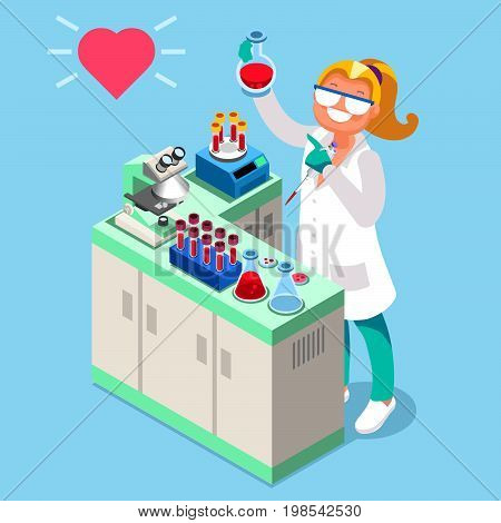Clinical research clinical laboratory isometric people cartoon character vector icon