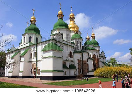 KIEV, UKRAINE - MAY 2, 2011: St. Sophia Cathedral is a worldwide architectural monument that was built during the heyday of Kievan Rus in the 11th century.
