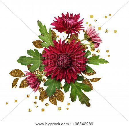 Autumn aster flowers arrangement with golden textured leaves isolated on white