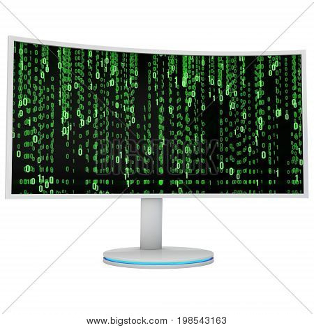 White Curved LCD tv screen and abstract matrix binary computer code. 3d render isolated on white.