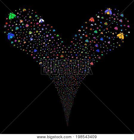 Fly Insect fireworks stream. Vector illustration style is flat bright multicolored iconic fly insect symbols on a black background. Object fountain organized from random pictograms.