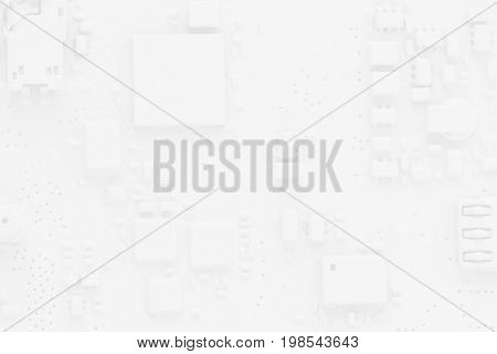 circuit board abstract background white pcb with smartphone components macro
