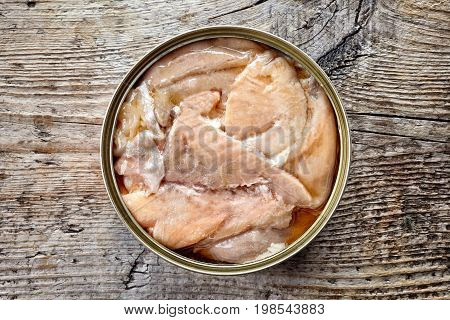Canned Salmon On Wood, From Above