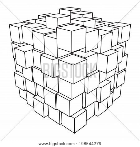 Wireframe Mesh Cube Made of Many Cubes. Connection Structure. Digital Data Visualization Concept. Vector Illustration.