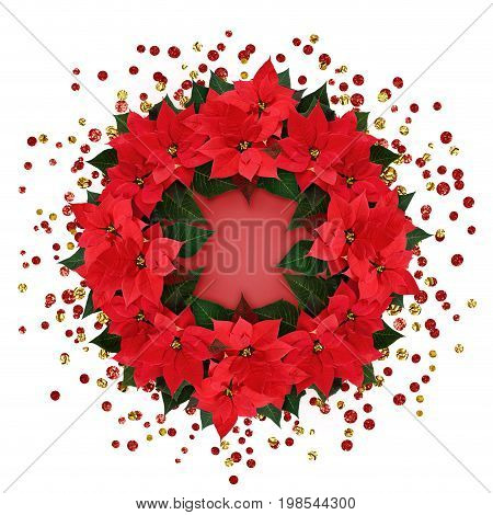 Christmas poinsettia flowers round arrangement with confetti isolated on white