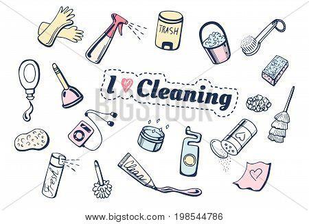 Vector illustration of I love cleaning icons set. Different items: gloves spray trash bin gel brush dishwashing sponge player toilet cleaner plunger.