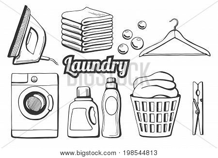 Vector illustration of a laundry icons set. Different objects: iron towels pile soap bubbles hanger washing machine washing chemicals bottles as gel and softener laundry basket clothespin. Hand drawn style.