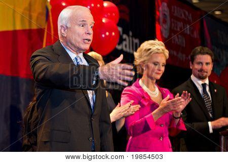 PHOENIX, AZ - NOVEMBER 2: Senator John McCain celebrates victory in his 2010 Senate campaign on November 2, 2010 in Phoenix, Arizona.