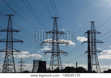 Power line construction voltage electrecity transmission landscape.