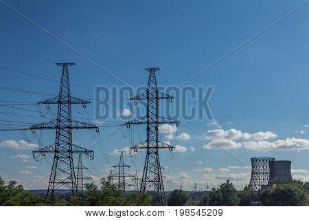 Power line technology voltage electrecity transmission landscape.