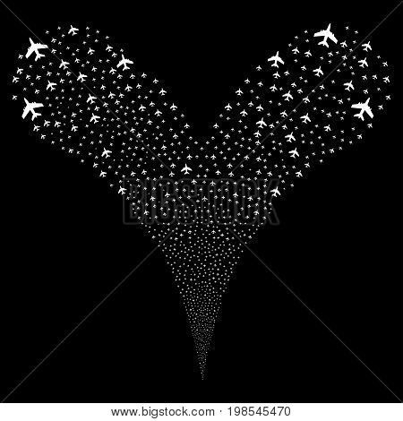 Jet Plane salute stream. Vector illustration style is flat white iconic jet plane symbols on a black background. Object fountain combined from random symbols.