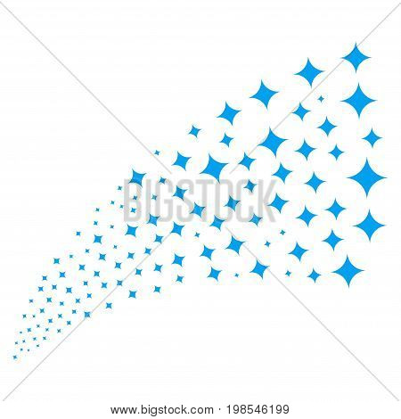 Fountain of sparcle star icons. Vector illustration style is flat blue iconic sparcle star symbols on a white background. Object fountain constructed from design elements.